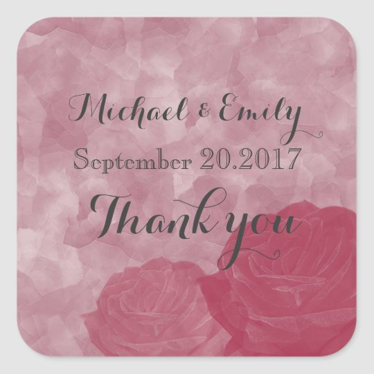 Charming watercolor romantic roses thank you square sticker