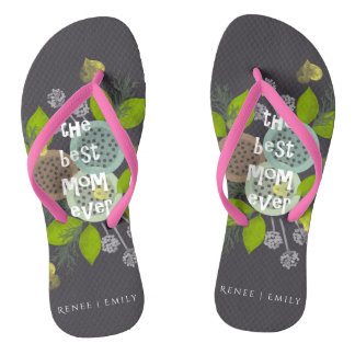 CHARMING WATERCOLOUR FLOWERS FOR MOM  MONOGRAM FLIP FLOPS