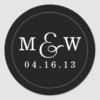 Charming Wedding Monogram Sticker - Black