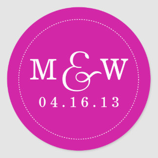 Charming Wedding Monogram Sticker - Magenta