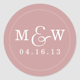 Charming Wedding Monogram Sticker - Mauve