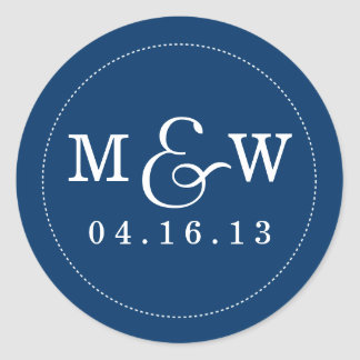 Charming Wedding Monogram Sticker - Navy