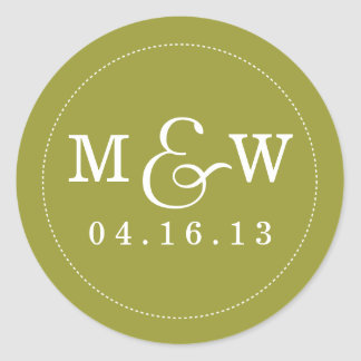Charming Wedding Monogram Sticker - Olive