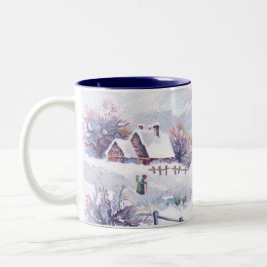 Charming Winter Scene Two-Tone Coffee Mug