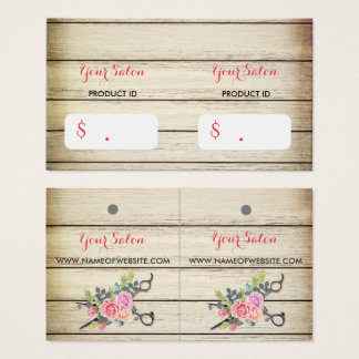 Charming Wood Scissors and Roses Hang Tags Business Card