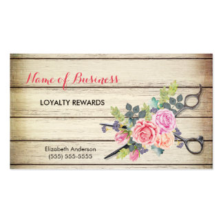 Charming Wood Scissors and Roses Salon Loyalty III Pack Of Standard Business Cards