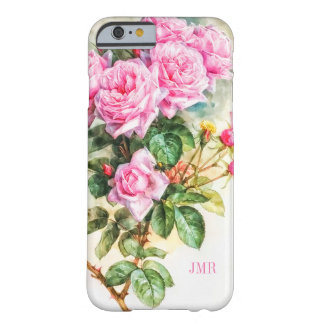 Charmingly Beautiful Vintage Pink Roses Monogram Barely There iPhone 6 Case