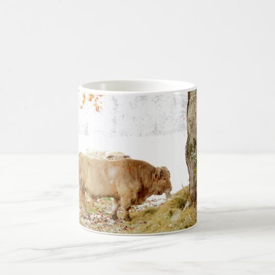 Charolais bull in the snow coffee mug