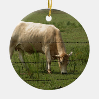 Charolais Cow Grazing in Field Round Ceramic Decoration