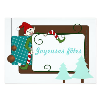 Chart of merry festivals funny imp and fir tree 13 cm x 18 cm invitation card
