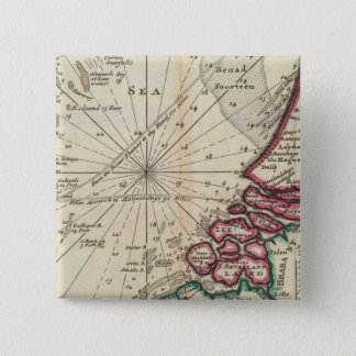 Chart of part of coast of England 15 Cm Square Badge