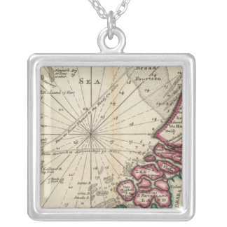 Chart of part of coast of England Silver Plated Necklace