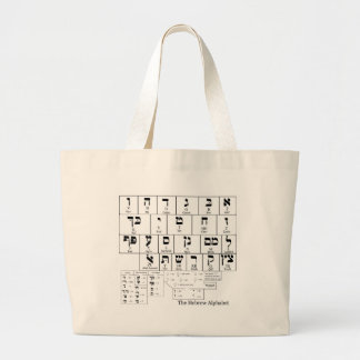 Chart of the Alphabet in the Hebrew Language Large Tote Bag