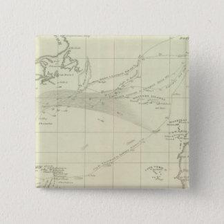Chart of the Atlantic Ocean 15 Cm Square Badge