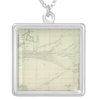 Chart of the Atlantic Ocean Silver Plated Necklace