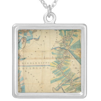 Chart of The Lower Mississippi River Silver Plated Necklace