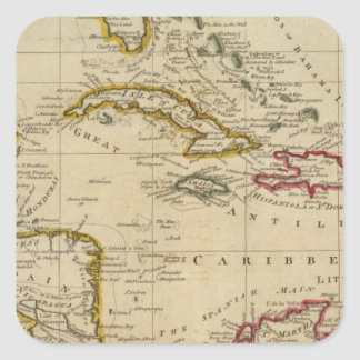 Chart of the West Indies 3 Square Sticker