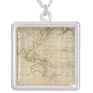 Chart of the World Silver Plated Necklace