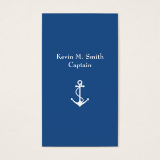 Charter Boat Captain Blue and White Anchor Business Card