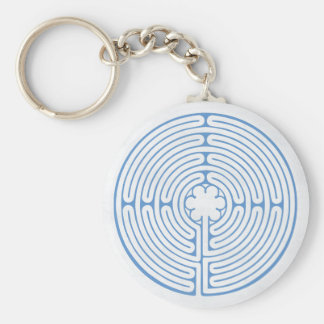 Chartres Labyrinth Blue Key Ring