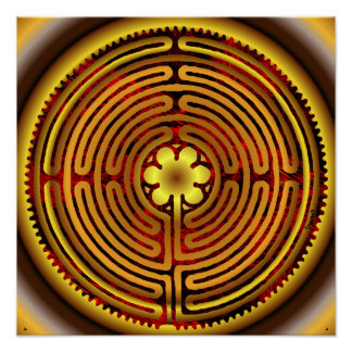 Chartres Labyrinth Fire Sun Print