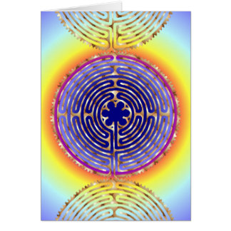Chartres Labyrinth Pearl Light Paths Blank Card