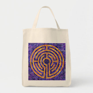 Chartres Mosaic Natural Grocery Tote Bags
