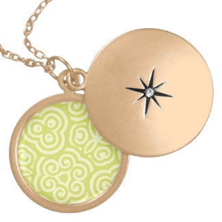 Chartreuse abstract pattern lockets