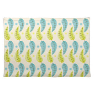 Chartreuse and Aqua leaves cloth placemat