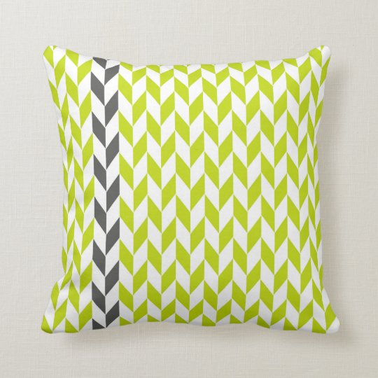Chartreuse and Grey Abstract Herringbone Pillow