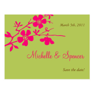 Chartreuse and Pink Blossoms Save the Dates Postcard