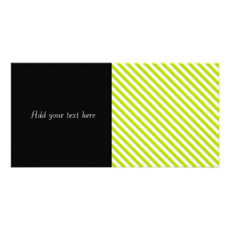 Chartreuse and White Stripes Customized Photo Card