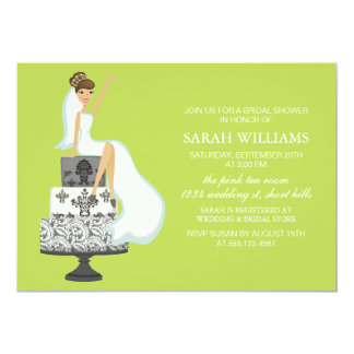 Chartreuse Bride on Wedding Cake Card
