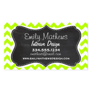 Chartreuse Chevron; Chalkboard look Business Cards