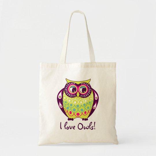 Chartreuse Fat Tawny Owl I Love Owls Tote