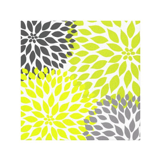 Chartreuse Green and Grey Dahlia mod decor