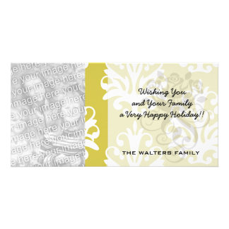Chartreuse green and white chic damask customized photo card