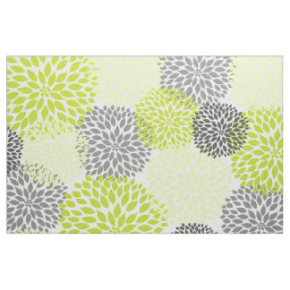 Chartreuse Green Gray Bold Large Dahlias design Fabric
