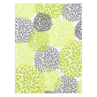 Chartreuse Green Gray Dahlia floral art Tablecloth