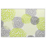 Chartreuse Green Grey Bold Large Dahlias design Fabric