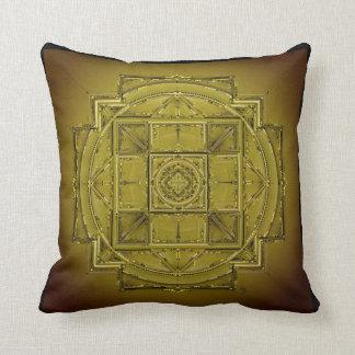 Chartreuse green olive mandala cushion