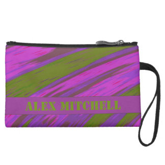 Chartreuse green purple pink Color Swish Wristlet Clutch