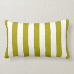 Chartreuse Green Stripes Lumbar Cushion