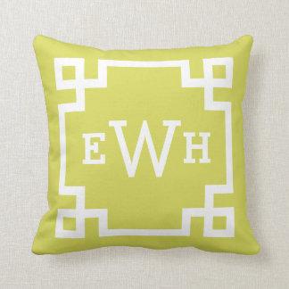 Chartreuse Monogram   Greek Key Throw Pillow