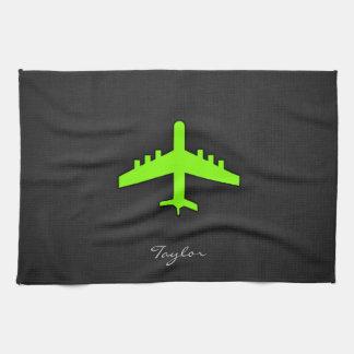 Chartreuse, Neon Green Airplane Tea Towel