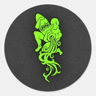 Chartreuse, Neon Green Aquarium Round Sticker