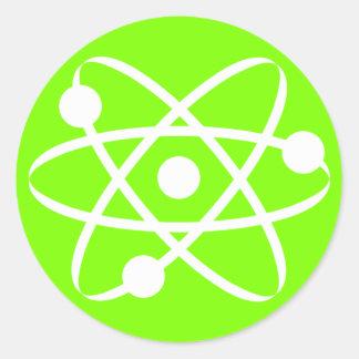 Chartreuse, Neon Green Atom Classic Round Sticker