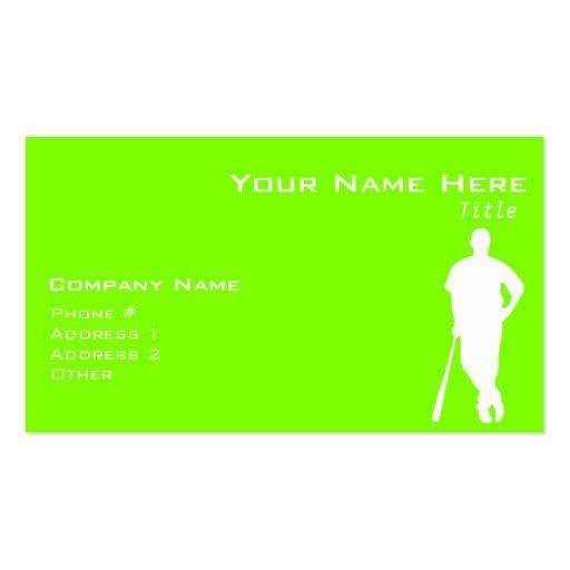 Chartreuse, Neon Green Baseball Business Card Template