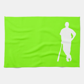 Chartreuse, Neon Green Baseball Tea Towel