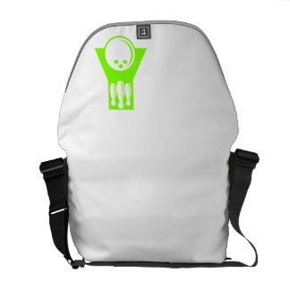 Chartreuse Neon Green Bowling Messenger Bags